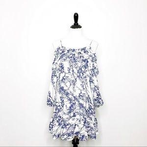 Parker Cold Shoulder Floral Dress Ruffle Sleeve